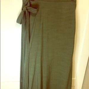 Army green wrap midi skirt